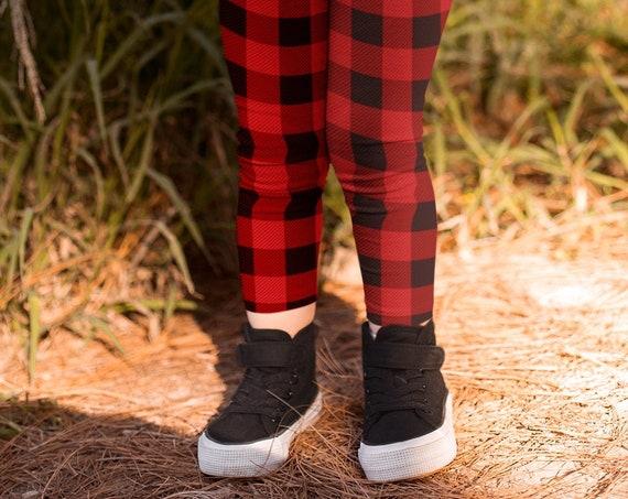 Red BUFFALO Plaid Leggings Christmas LEGGINGS Kids Leggings for Girls or Boys Leggings Toddler Leggings Baby Leggings Buffalo Check Leggings