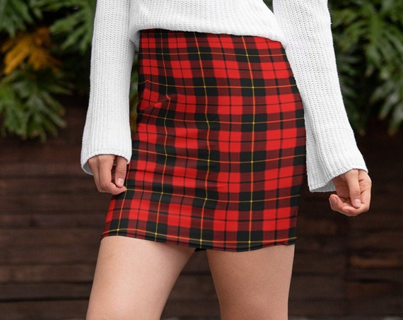 RED Tartan PLAID Mini SKIRT Red Plaid Skirt Red Plaid Mini Skirt Womens Clothing Sexy Mini Skirt Sexy Print Plaid Skirts for Women Flare