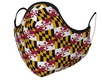 MARYLAND Flag MASK Face Mask Face Covering Maryland Flag Mask with PM 2.5 Filters Unisex Adult & Youth Sizes Maryland Flag Protective Mask