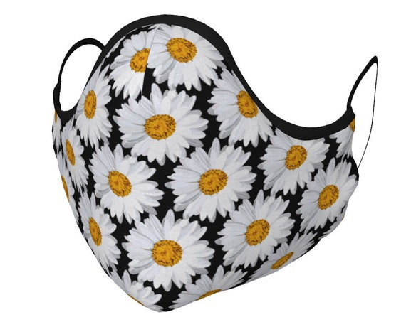 DAISY MASK Face Mask Face Covering Daisy Flower Mask Covering Floral Print with PM 2.5 Filters Unisex Adult & Youth Sizes Protective Mask