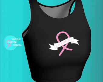 Warrior Pink Ribbon BCAM Crop TOP Breast Cancer Awareness Top for Women Black and Pink Warrior Ribbon Printed Athletic Crop Top Womens Tops