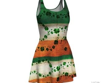 St Patricks Day DRESSES Shamrock IRISH FLAG Dress Womens Skater Dress Sexy Mini Dress Flare Dress Festival Fashion Party Dress Green Orange