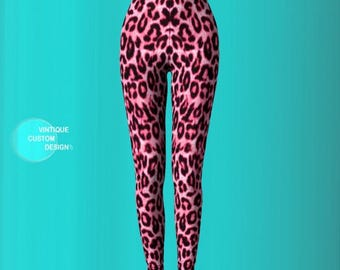 Sexy Cheetah Print Leggings For Women - Pink Cheetah Print Leggings - Sexy Yoga Leggings - Womens Sexy Leggings - Animal Print Leggings