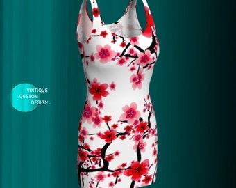 Bodycon DRESS Slim Fit Spring Dress for Women Flower Printed Dress Cherry Blossom Print Short Dress Mini Dress Spring Dresses For Women