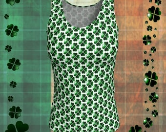 SHAMROCK Green & White CLOVER Pattern Tank TOP Sleeveless Shirt Womens Tank Top St. Patricks Day Top Four Leaf Clover Top St. Pattys Day Top