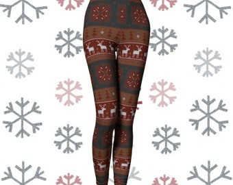 LEGGINGS Yoga Leggings Yoga PANTS Christmas Leggings Womens REINDEER Pattern Printed Yoga Leggings Winter Printed Snowflake Christmas Pants
