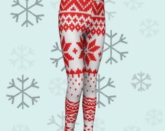 SNOWFLAKE LEGGINGS Christmas Pattern Leggings Printed Leggings Red White Holiday Leggings Baby Leggings Toddler Leggings Christmas Outfit