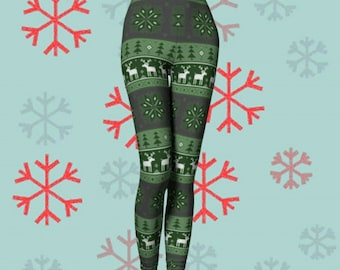 Green Christmas LEGGINGS Yoga Leggings Xmas Yoga PANTS Christmas Leggings Womens REINDEER Printed Snowflake Christmas Pattern Yoga Pants