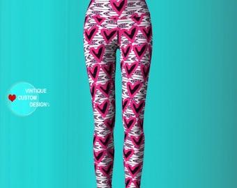 Pink HEART Leggings WOMENS Yoga Pants Cupid Heart LOVE Leggings Valentine's Day Gift for Her Pink Yoga Pants Valentine's Day Leggings Pants