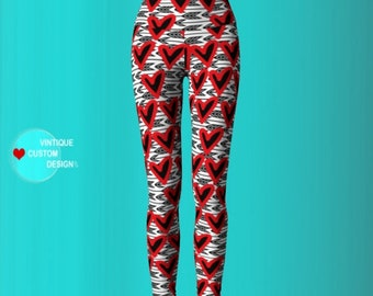 LOVE LEGGINGS WOMENS Heart Print Cupid's Arrow Yoga Pants Red and White and Grey Valentine's Day Leggings Valentine's Day Gift for Her