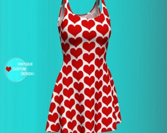 Valentines Day RED and White HEART Dress WOMENS Party Dress in Bodycon and Fit and Flare Styles Designer Fashion Print Dress Heart Dress