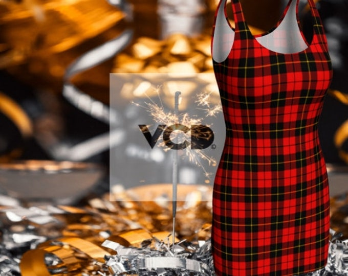 Featured listing image: Red Tartan PLAID Bodycon DRESS or Flare Dress WOMENS Designer Dress Sexy Mini Dress Skater Dress Casual Dresses Sexy Plaid Dresses Red Plaid