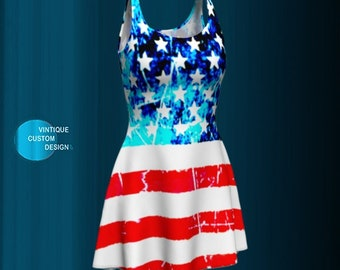 American Flag DRESS Womens USA Flare Dress for Fourth of July Womens Dress Flare Dress Red White and Blue Stars and Stripes Independence Day