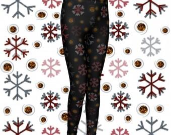 CHRISTMAS LEGGINGS SNOWFLAKE Toddler Leggings Girl Leggings Winter Leggings Xmas Leggings Kids Leggings Baby Leggings Childrens Clothing