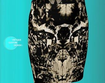 BOHO SKIRT WOMENS Boho Style Printed Skirt Slim Fitted Skirt Designer Fashion Print Skirt for Women Beige & Black Mini Skirt Womens Skirts