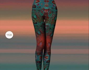 LEGGINGS Mandala Tribal Yoga Leggings YOGA PANTS Womens Sexy Print Leggings Psychedelic Hippie Clothing Sacred Geometry Festival Leggings