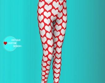VALENTINES GIRLS LEGGINGS Valentines Day Heart Print Leggings for Kids Baby Leggings Toddler Leggings Youth Leggings Red and White Hearts