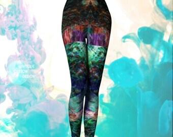 Psychedelic VAPORWAVE LEGGINGS Rave Leggings WOMENS Yoga Pants Festival Fashion Clothing Trippy Art Leggings Crazy Leggings Rainbow