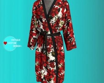 POINSETTIA Floral Long KIMONO ROBE Peignoir Robe Womens Kimono Robe for Women Gift for Wife Flower Print Robe Valentine's Day Gift for Wife