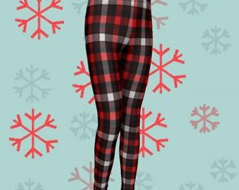 Checkered PLAID Christmas Leggings KIDS Leggings Baby Leggings Toddler Leggings Childrens Christmas Pants Plaid Tights Red Black White Plaid