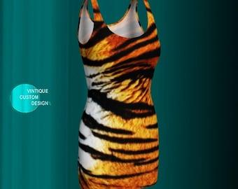 DRESS body con slim fit TIGER PRINT Bodycon Dress Womens Designer Dress Club Dress Slim fit Mini Dress Sexy Mini Dress Short Tight Dress
