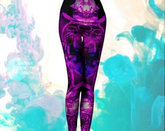 FESTIVAL LEGGINGS Womens Festival Clothing Purple Yoga Pants Rave Clothing Sexy Print LEGGINGS Rave Leggings Burning Man Leggings Clothing