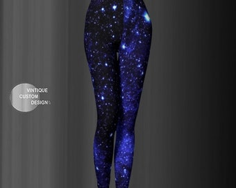 BLUE Galaxy STAR Print LEGGINGS Womens Yoga Leggings Yoga Pants Sparkly Leggings For Women Cosmic Leggings Space Leggings Cosmos Blackmilk