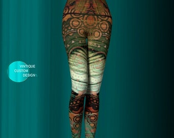 Tribal Art YOGA PANTS WOMENS Printed Art Leggings Tribal Pattern Leggings Hippie clothing Egyptian Bohemian Boho Yoga Leggings Tribal Tights