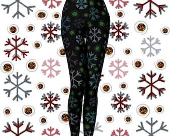 GREEN SNOWFLAKE LEGGINGS Womens Snowflake Yoga Leggings Snowflake Yoga Pants Christmas Leggings for Women Holiday Yoga Pants Christmas Pants