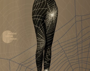 Cobweb LEGGINGS HALLOWEEN Leggings for Women Yoga Pants for Halloween Spider Web Tights Spooky Gothic Clothing Halloween Costume for Her