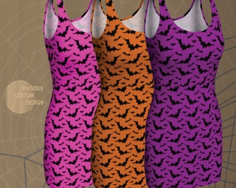 Bat Print HALLOWEEN DRESSES WOMENS Fit or Flare or Bodycon Styles Available in Pink Purple or Orange and Black Print Designer Fashion Dress
