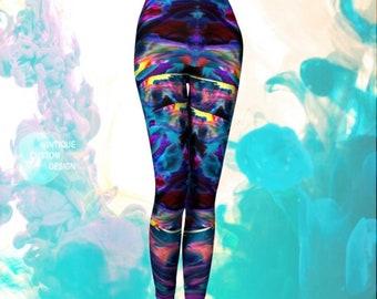 Trippy Art Leggings Psychedelic LEGGINGS Paint Splatter Leggings Sexy Print Leggings Sexy YOGA PANTS Festival Clothing Womens Rave Leggings
