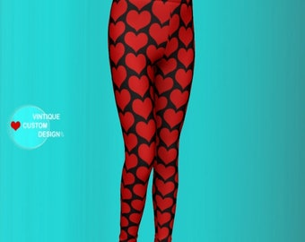 Black and Red Heart Print Leggings - Girls Leggings - Back to School Clothing for Girls - New Mom Gift - Mommy to be Gift - Baby Leggings