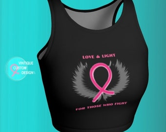 CROP TOP Pink Ribbon Angel Wing Crop Top for BCAM Womens Crop Top Breast Cancer Awareness Month Athletic Crop Top Black Pink and Grey Top