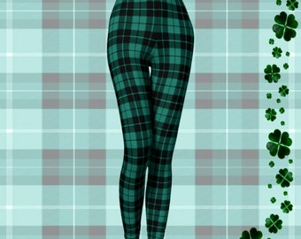 GREEN Tartan PLAID LEGGINGS Womens Plaid Leggings Yoga Pants Yoga Leggings Womens Leggings Printed Leggings Christmas Leggings Gift for Her