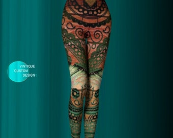 LEGGINGS Womens Yoga Pants Yoga Leggings Printed Leggings Aztec Tribal Pattern Leggings Tribal Boho Leggings Yoga Leggings Hippie Clothing