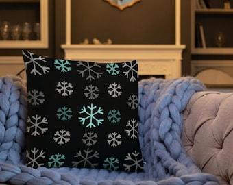 "HOLIDAY Festive THROW PILLOW 18"" x 18"" Decorative Throw Pillows Holiday Home Decor Square Snowflake Pillow Christmas Holiday Decor Winter"