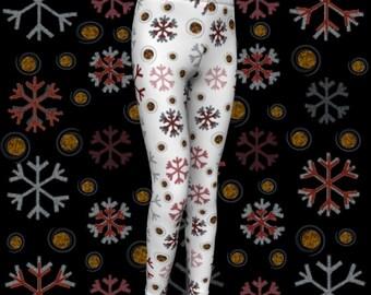 SNOWFLAKE Christmas Leggings Toddler Leggings Girl Leggings Winter Leggings Xmas Leggings Kids Leggings Baby Leggings White Red and Gold