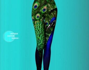 PEACOCK LEGGINGS Womens Yoga Leggings Yoga Pants Peacock Feather Printed Leggings Green and Blue Animal Print Summer Leggings Eco fashion