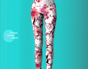 Womens Cherry Blossom BCAM Pink Ribbon YOGA LEGGINGS Warrior Ribbon Survivor Gift for Women Work Out Yoga Pants Pink and White Floral Print