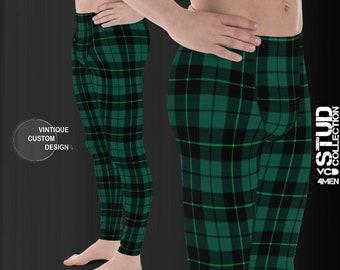 YOGA PANTS MENS Green Tartan Plaid Yoga Leggings for Men Christmas Leggings Mens Yoga Pants Tartan Plaid Yoga Leggings Printed Leggings Mens