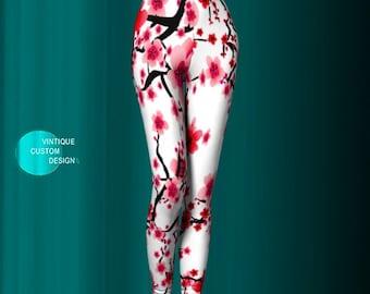 Floral Print Spring Yoga Leggings Yoga Pants Womens Flower Leggings Cherry Blossom Floral Print Leggings Gift for Mothers Day Gift for Wife