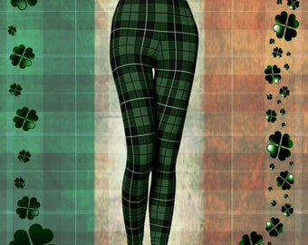 St. Patricks Day Leggings St. Pattys Day GREEN Tartan PLAID LEGGINGS Womens Yoga Leggings Womens Yoga Pants Printed Leggings Gift for Her
