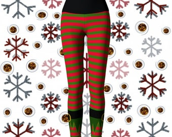 Christmas Elf Pants Womens Red and Green Striped Elf Stockings LEGGINGS Yoga Pants Yoga Leggings Cosplay Eleven Leggings Xmas Pants Womens
