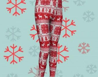 CHRISTMAS LEGGINGS for Kids Red and White Reindeer Christmas Pattern Printed Leggings Baby Leggings Toddler Leggings Christmas Tights Kids