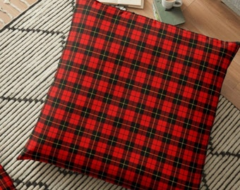 "Red TARTAN PLAID PILLOW Decorative Throw Pillow Christmas Holiday Decorations Home Decor Red Plaid Printed Pillow 18"" x 18"" Square Pillow"