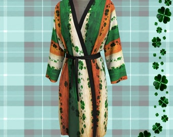 St. Patricks Day Kimono ROBE Womens Long Peignoir Kimono Robe Shamrock Clover Robe Saint Patricks Robe Saint Patties Day Irish Flag Clothing