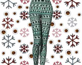 CHRISTMAS LEGGINGS Yoga Pants for Women Christmas Yoga Leggings Reindeer Leggings Printed Leggings Pattern Leggings Holiday Leggings Gift