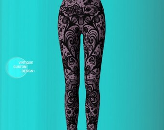 LEGGINGS Purple and Black WOMENS Lace Tattoo Printed Yoga Leggings Yoga Pants for Women Lace Print Sexy Leggings Tribal Tights Tattoo Tights