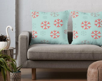 SNOWFLAKE THROW PILLOW Snowflake Pillow Home Decor Holiday Decorations Christmas Pillow Square Decorative Throw Pillow and Insert Home Decor